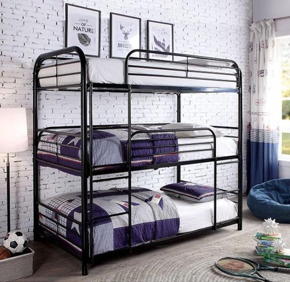 CM-BK937 Opal II triple twin bed twin over twin over twin black metal frame bunk bed