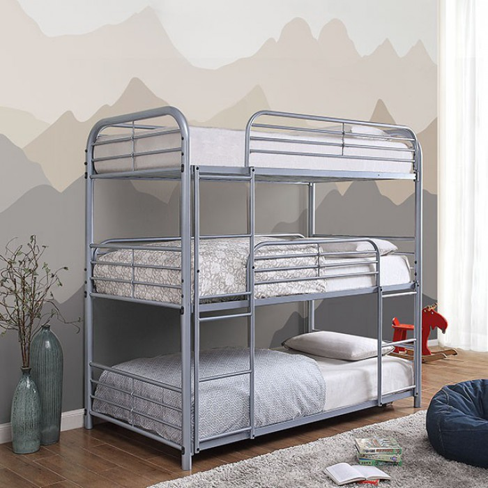 CM-BK937SV Opal II triple twin bed twin over twin over twin silver metal frame bunk bed