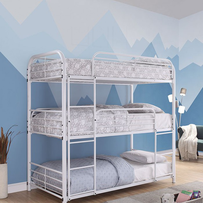 CM-BK937WH Opal II triple twin bed twin over twin over twin white metal frame bunk bed