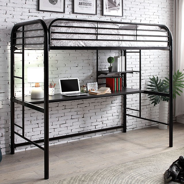 CM-BK938BK Opal black finish tubular metal frame twin loft with workstation underneath