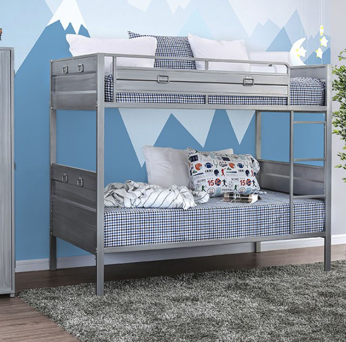 CM-BK959 Mccredmond silver finish metal frame industrial style twin over twin bunk bed set