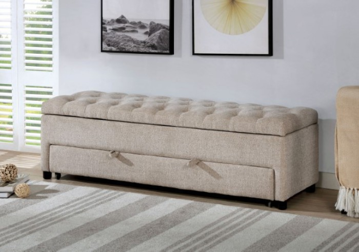 CM-BN6352BR Aguda light brown tweed like fabric upholstered tufted storage bench