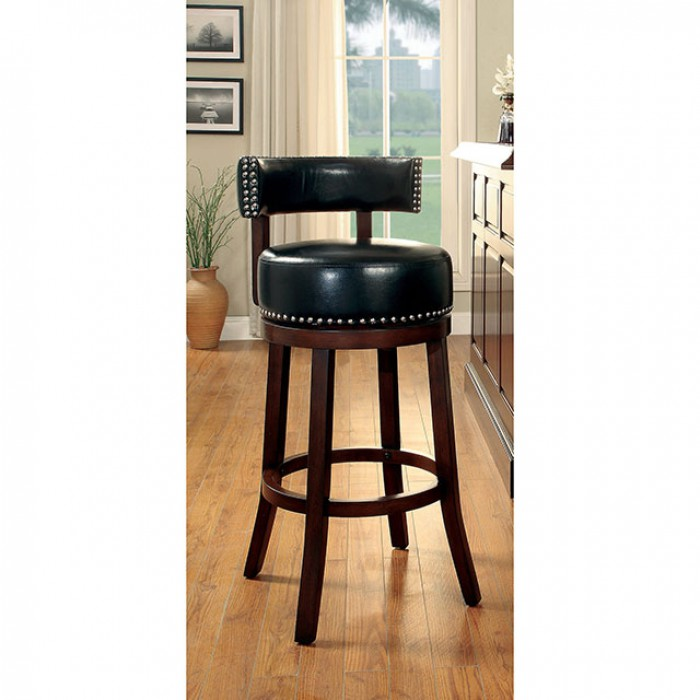 CM-BR6251-24-BK Set of 2 shirley collection black faux leather and dark oak finish wood counter height bar stools