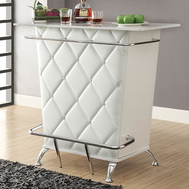 CM-BT6464WH Fuero white finish wood bar table with wine racks and foot rest