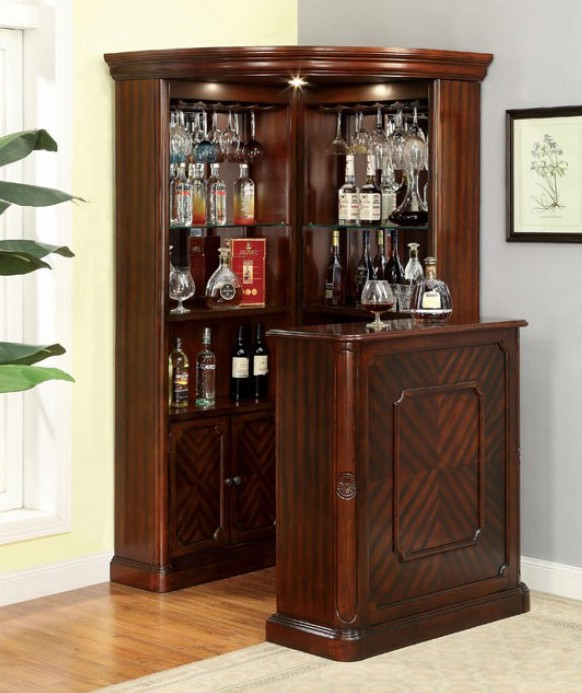 CM-CR142-142BT Voltaire dar cherry finish wood bar table and curio cabinet