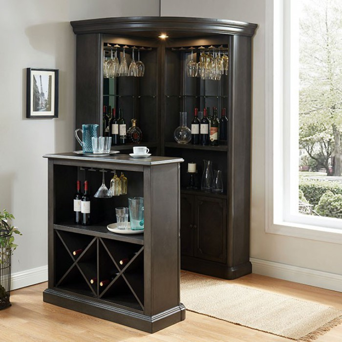 CM-CR142GY-142GY-BT Voltaire gray finish wood bar table and curio cabinet