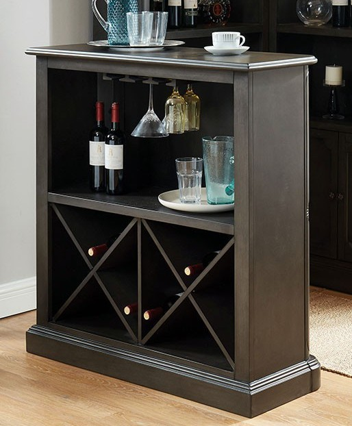 CM-CR142GY-BT Voltaire gray finish wood bar unit wine bottle rack and glass racks