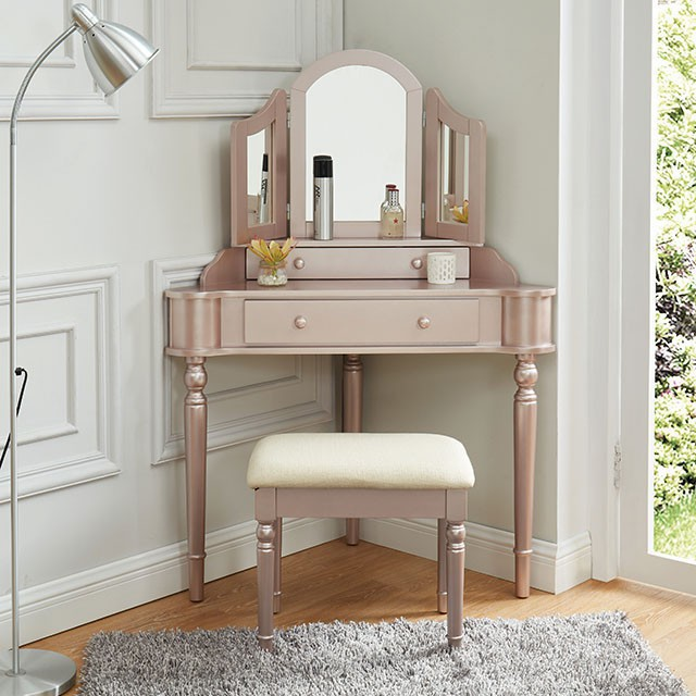 CM-DK5849RG 3 pc House of hampton castiel kasey rose pink finish wood corner shaped make up bedroom vanity set