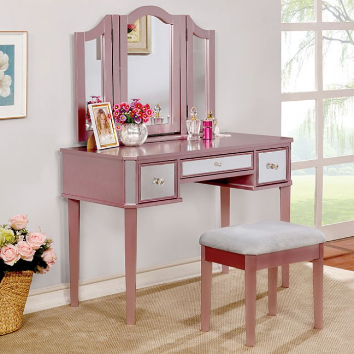 Furniture Of America CM DK6148RG 3 Pc Clarisse Collection Rose Gold Finish  Wood Make Up Bedroom Vanity Set