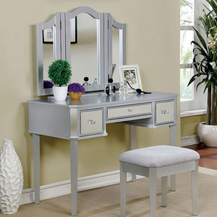 CM-DK6148SV 3 pc clarisse collection silver finish wood make up bedroom vanity set
