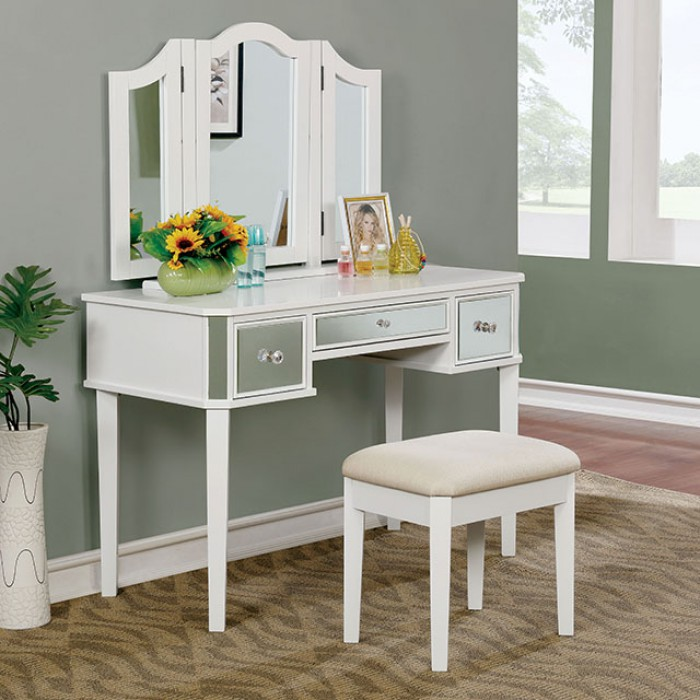 CM-DK6148WH 3 pc clarisse collection white finish wood make up bedroom vanity set