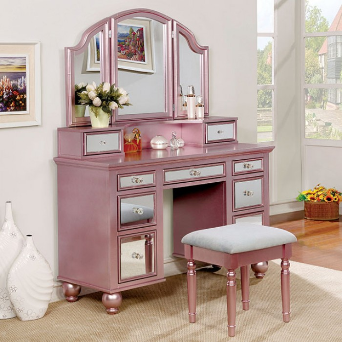 CM-DK6162RG 3 pc tracy collection rose gold finish wood make up bedroom vanity set