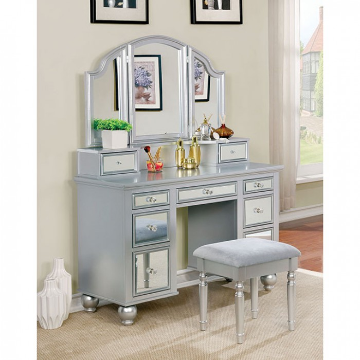 CM-DK6162SV 3 pc tracy collection silver finish wood make up bedroom vanity set