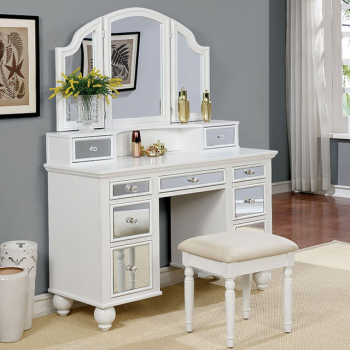 CM-DK6162WH 3 pc tracy collection white finish wood make up bedroom vanity set