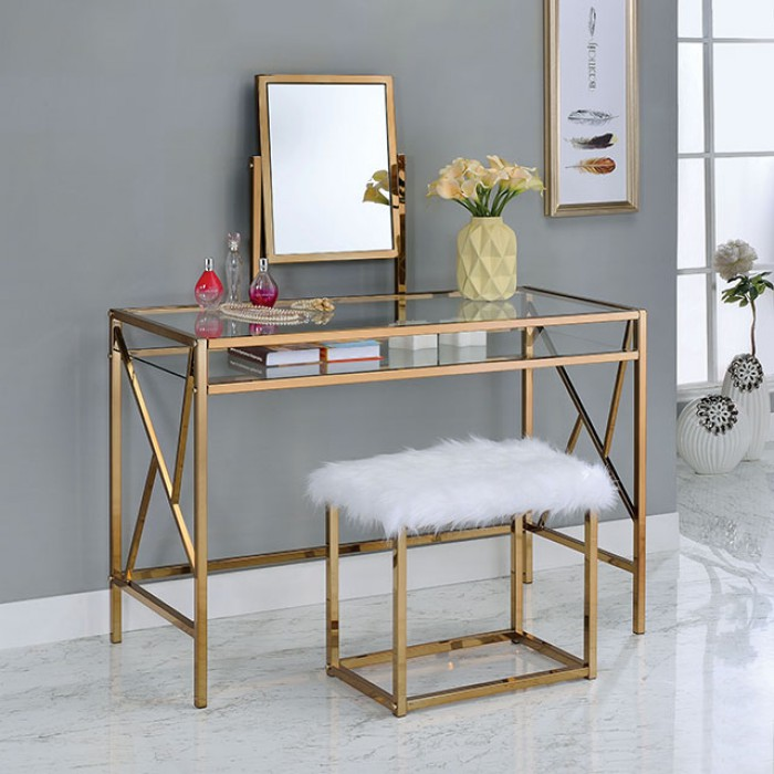 CM-DK6707CPN 3 pc lismore collection champagne finish metal frame make up bedroom vanity set