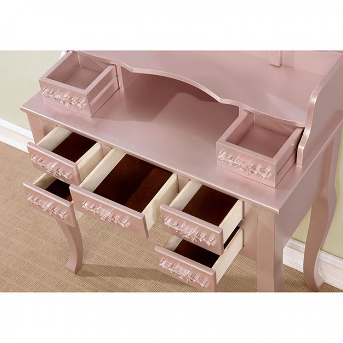 CM-DK6845WH 3 pc harriet rose gold finish wood bedroom make up vanity sitting table set with mirror