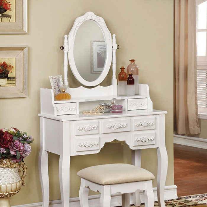 CM-DK6845WH 3 pc harriet collection transitional style white finish wood bedroom make up vanity sitting table set with mirror