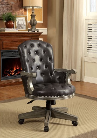 Furniture of america CM-GM357AC Yelena gray finish wood contemporary style poker game / dining chair with casters
