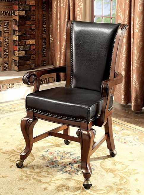 CM-GM367CH-AC-2PK Set of 2 melina brown cherry finish wood poker game / dining chairs with casters