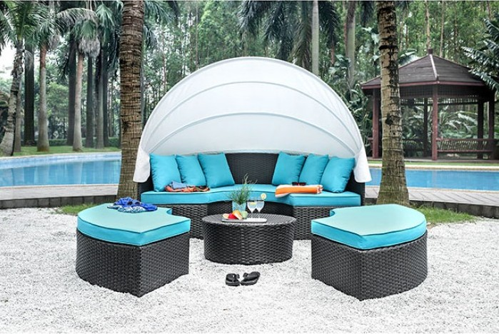 CM-OS2117 4 pc aria collection light brown plastic wicker frame round patio rounded sofa, table and chairs with canopy