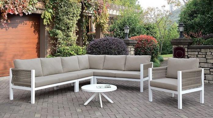 CM-OS2138 4 pc Nailwell sasha white aluminum frame taupe fabric cushions outdoor patio sectional
