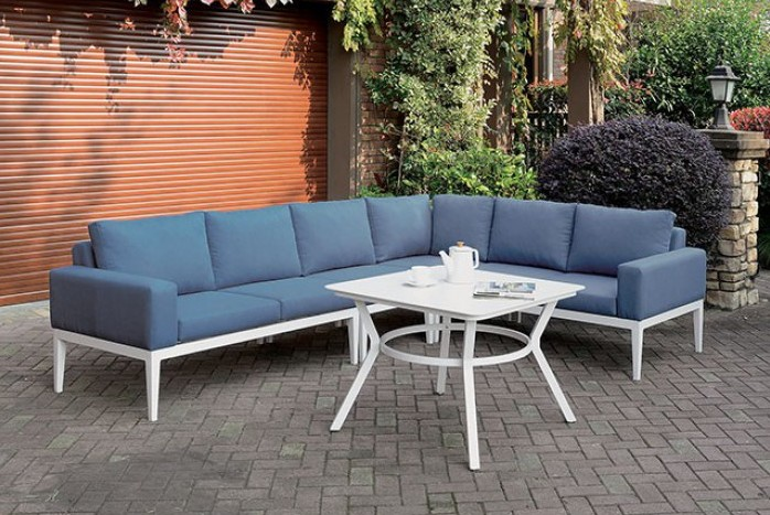 CM-OS2139 4 pc Nailwell sharon white aluminum frame blue fabric cushions outdoor patio sectional