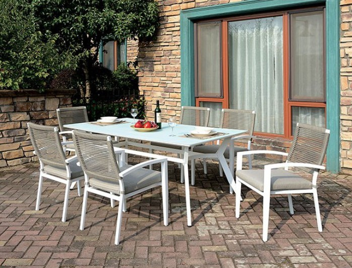 CM-OT2140 7 pc Rosecliff heights kurtz arisha white metal frame tempered glass top patio table and chairs