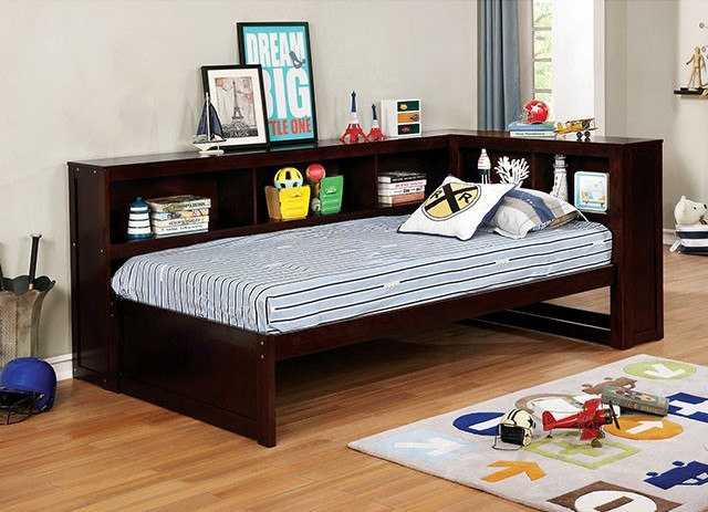 """Frankie dark walnut finish wood twin size day bed with bookcase headboards.  This bed features a bookcase on the back and side , this come mattress ready ,requires no bunkie board.  Day bed measures 88 3/8"""" W x 54 5/8"""" D x 37 3/8"""" H.  Slat Kit included."""