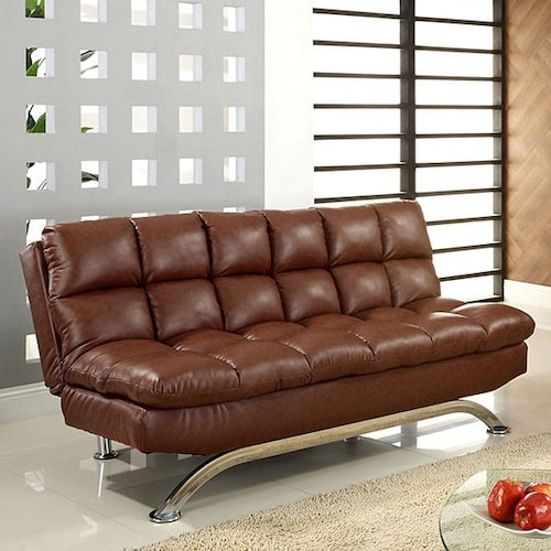 Furniture of america CM2906 Aristo i saddle brown finish leatherette futon sofa with chrome finish support legs.