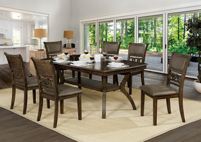 CM3023T-7PC 7 pc Holly satin walnut finish wood dining table set
