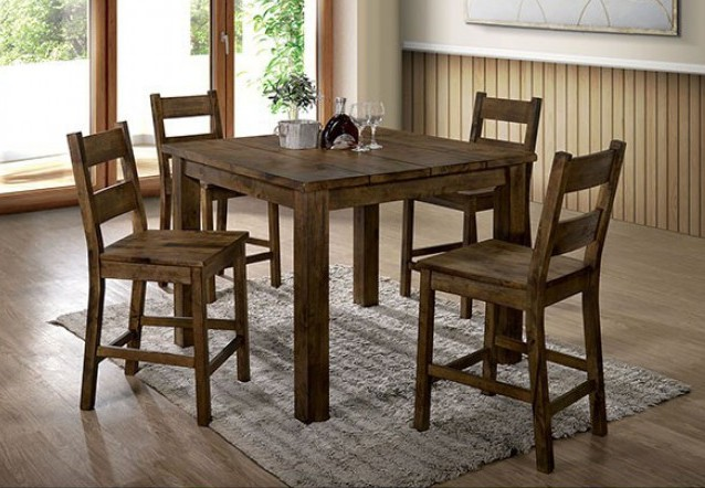 CM3060-PT-5PC 5 pc Kristen II rustic oak finish wood counter height dining table set