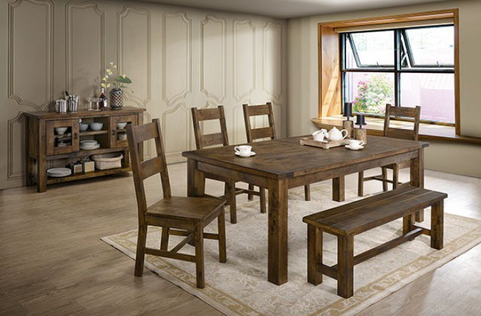 CM3060T-6PC 6 pc Gracie oaks kristen rustic oak finish wood dining table set