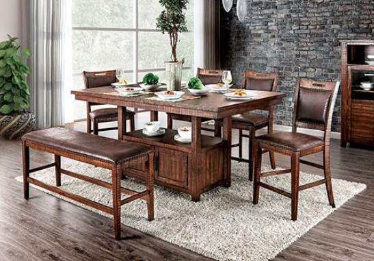 CM3061PT-6PC 6 pc Loon peak grantham wchita light walnut finish wood counter height dining table set