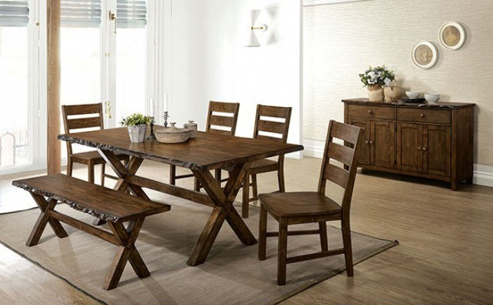 CM3114T-BN-3604-6PC 6 pc Gracie oaks vecinas woodworth walnut finish wood natural edge dining table and bench set