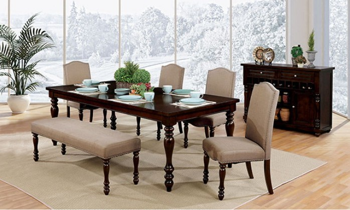 CM3133T-6PC 6 pc hurdsfield ii antique cherry finish wood dining table set