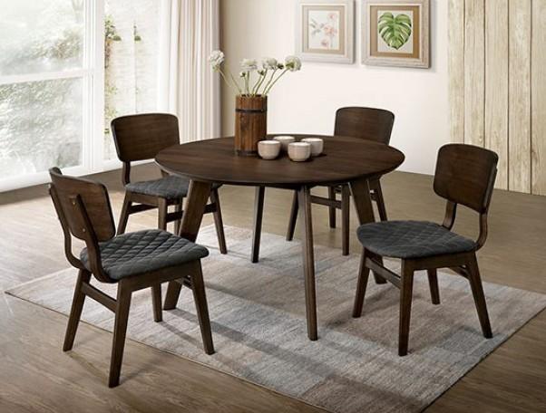 CM3139RT-5PC 5 pc Shayna mid century modern style gray walnut finish wood round dining table set