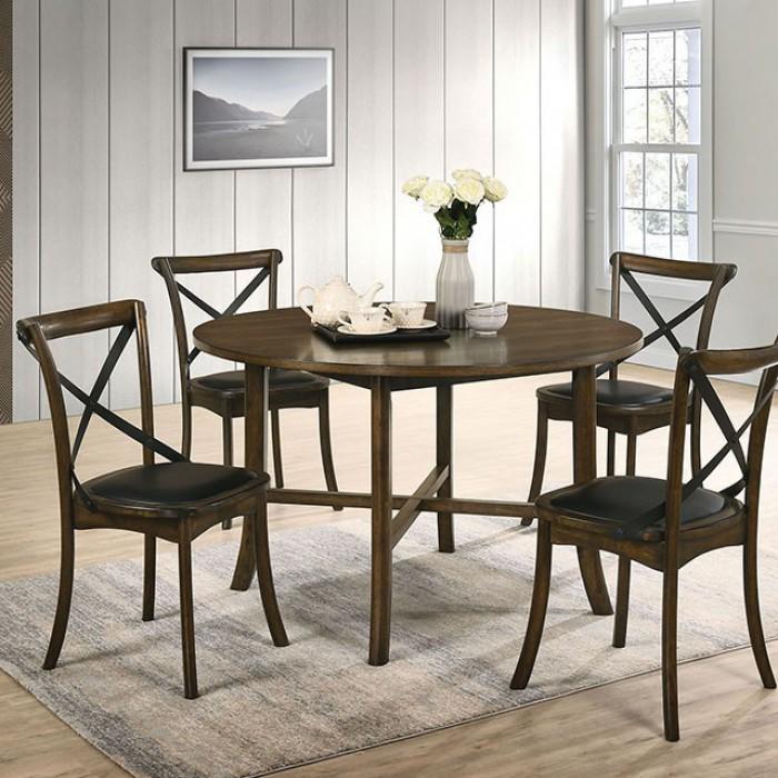 CM3148RT-5PC 5 pc Gracie oaks Buhl I burnished oak finish wood round dining table set