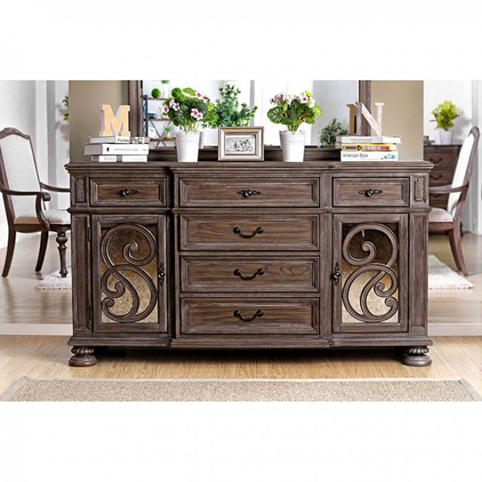 CM3150SV Arcadia collection rustic natural tone finish wood dining sideboard server buffet table