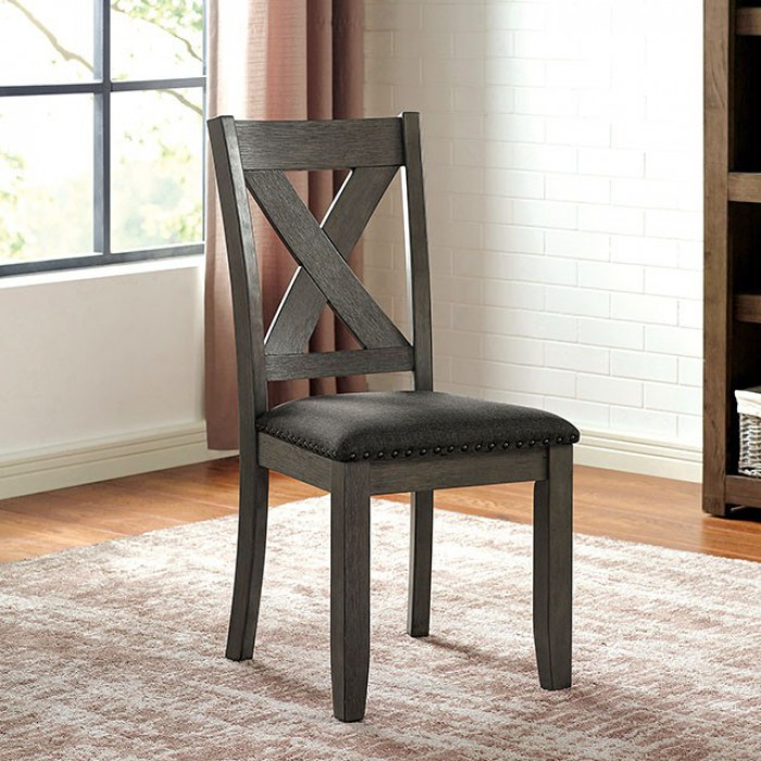 CM3153GY-SC Set of 2 Canora grey mel cilgerran I gray finish wood dining chairs