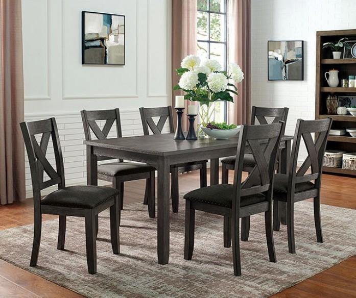 CM3153GY-T-7PC 7 pc Canora grey mel cilgerran I gray finish wood dining table set