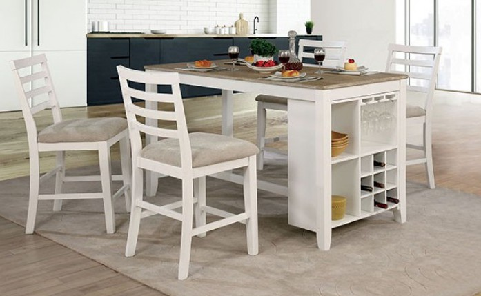 Tufted Chaise Lounge Chair, Cm3156 Pt 5pc 5 Pc Madelin Kiana White Weathered Oak Finish Wood Counter Height Dining Table