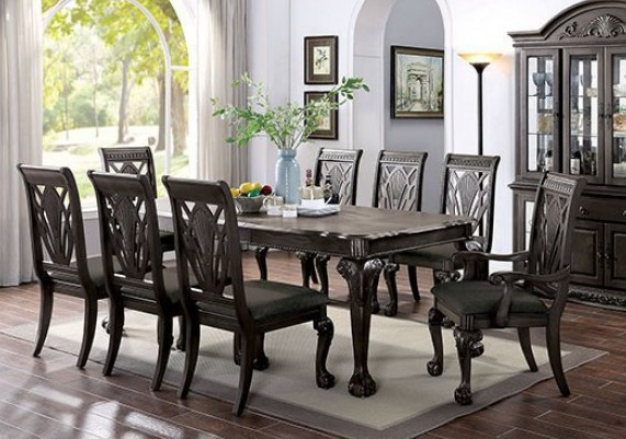 CM3185DG-T 7 pc petersburg i dark gray finish wood dining table set with claw foot legs