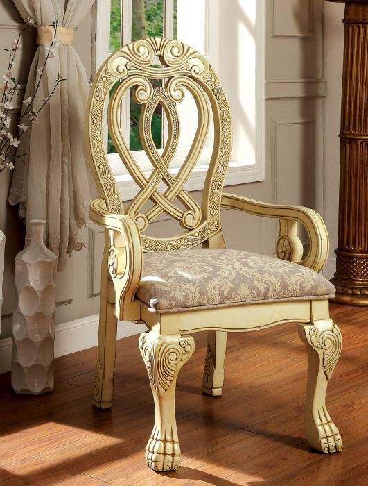 Furniture of america CM3186WH-AC Set of 2 Wyndmere antique white finish wood elegant formal style arm chairs