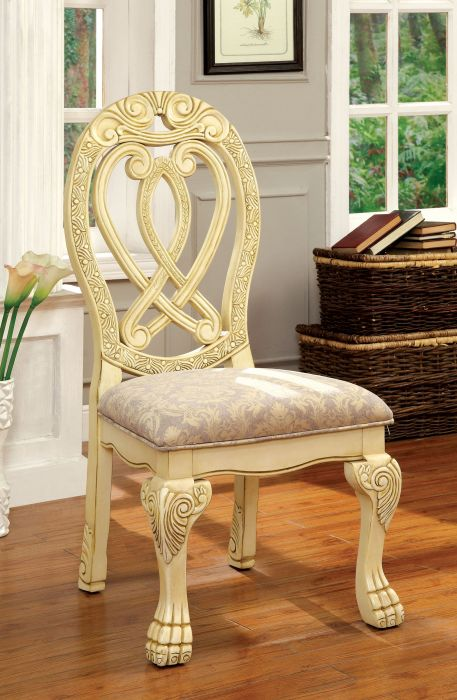 Furniture of america CM3186WH-SC Set of 2 Wyndmere antique white finish wood elegant formal style side chairs
