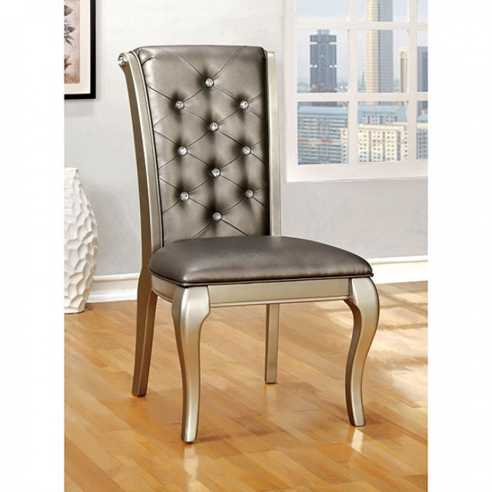 CM3219SC Set of 2 amina collection contemporary style silver finish wood side chair