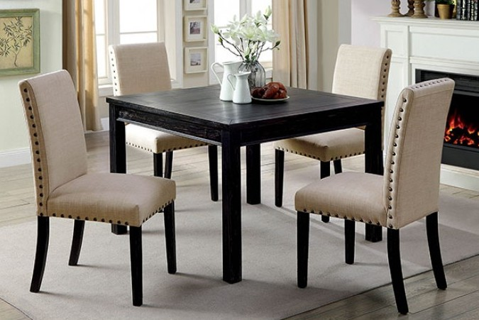 Tufted Chaise Lounge Chair, Cm3314t 5pk 5 Pc Kristie Antique Black Finish Wood Square Dining Table Set