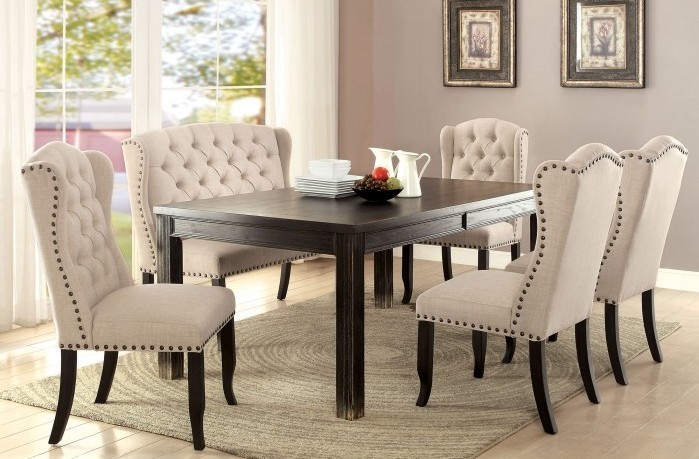 CM3324BK-T-6pc 6 pc sania ii collection contemporary style antique black finish wood dining table set with padded chairs