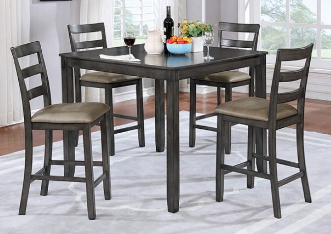 CM3331GYPT-5PK 5 pc Loon peak dawkins gloria gray finish wood counter height dining table set