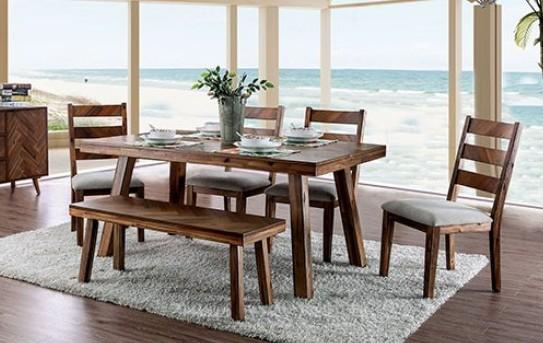 CM3346T-6PC 6 pc Signe light oak finish wood dining table set