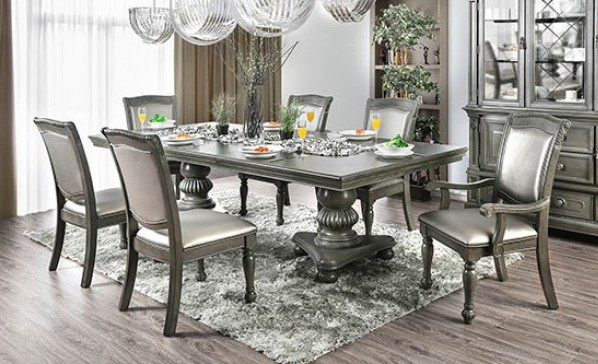 CM3350GY-T-7pc 7 pc alpena gray finish wood double pedestal dining table set